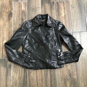 jou jou leather jacket biker Studded Size XS black